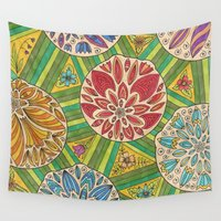 green pattern Wall Tapestries featuring Green pattern by Lisidza's art