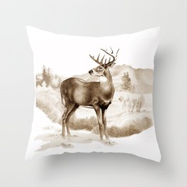 White-tailed Stag Sniffing the Air Throw Pillow