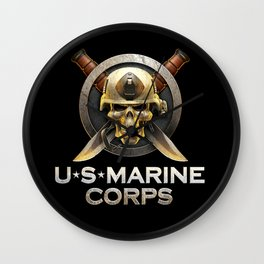 Military badge with marine skull Wall Clock