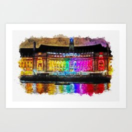 Aquarelle sketch art. Illuminated County Hall building in London at night Art Print