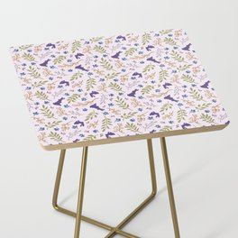 Ditsy Bunnies Amok - Purple Bunnies, Pink Background Side Table