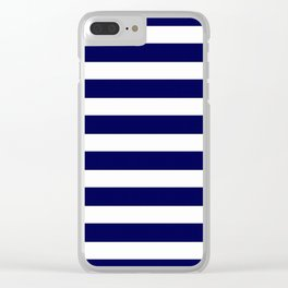 Navy Blue & White Stripes- Mix & Match with Simplicity of Life Clear iPhone Case