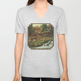 Whitetil Deer Doe & Buck by Waterfall Unisex V-Neck