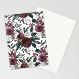 Festive Red Floral Arrangement in Soft Muted Tones on White  Stationery Cards
