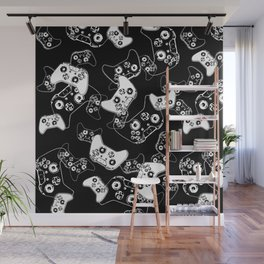 Video Game White on Black Wall Mural