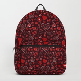 Hearts and flowers on a red background Backpack