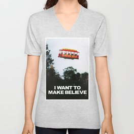 I WANT TO MAKE BELIEVE Fox Mulder x Mister Rogers Creativity Poster Unisex V-Neck