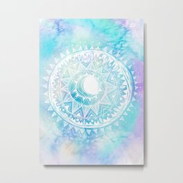 Watercolor Moon Mandala Metal Print