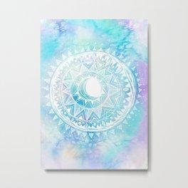 Watercolor Moon Mandala Metal Print
