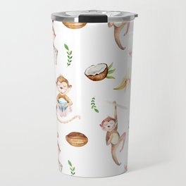 Tropical pink brown green watercolor monkey coconut floral Travel Mug