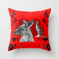 kangaroo Throw Pillows featuring Kangaroo by SwanniePhotoArt