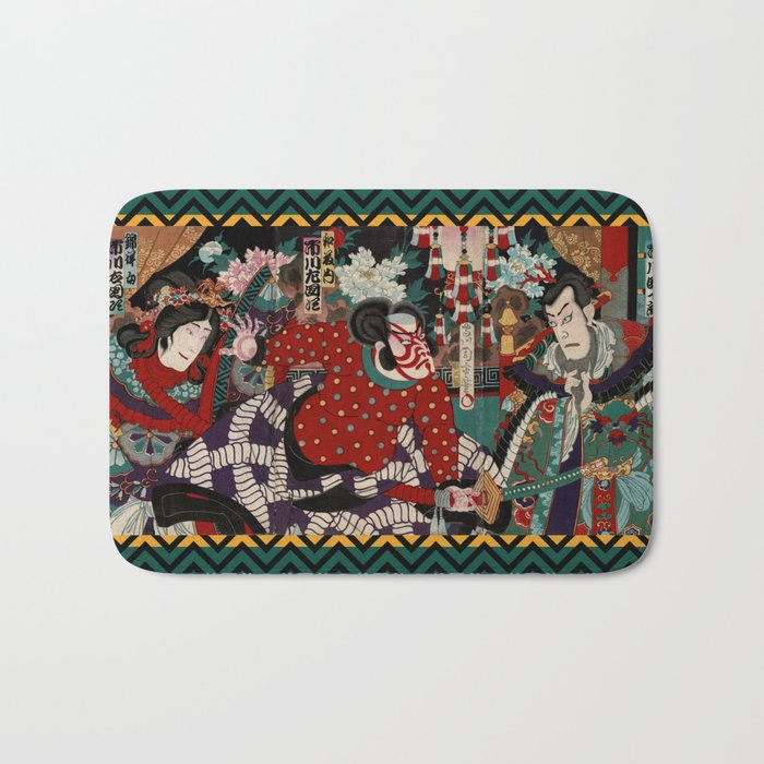 Kabuki Samurai Warriors Bath Mat