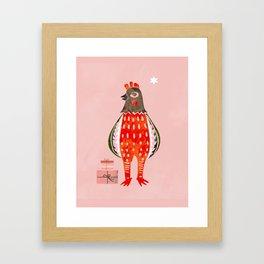 Christmas Chicken - illustration Framed Art Print