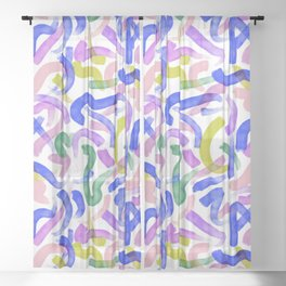Brushstroke Party Wild & Free Sheer Curtain