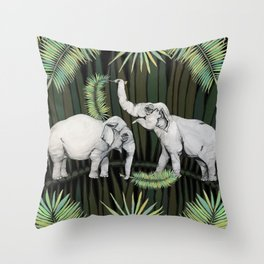 The Elephant Queens Throw Pillow