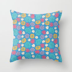RocoFloral (blueberry) Throw Pillow
