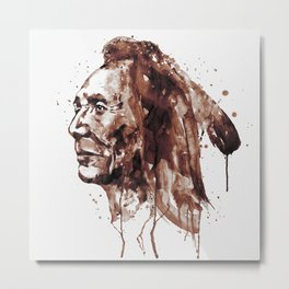 Indian Warrior Sepia Tones Metal Print