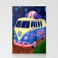 hippie Stationery Cards featuring Hippie Van by whiterabbitart