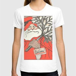 Christmas Pudding And Vintage Santa Vector T-shirt