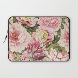 Vintage & Shabby Chic Floral Peony & Lily Flowers Watercolor Pattern Laptop Sleeve