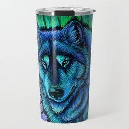 Blue Wolf Aurora Colorful Fantasy Travel Mug