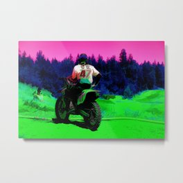 Checking the Track - Motocross Racer Metal Print