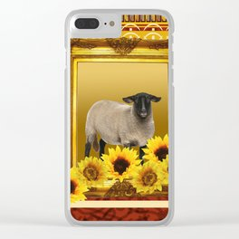 Frame Design yellow Sheep Clear iPhone Case