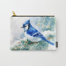 Watercolor Blue Jay Carry-All Pouch