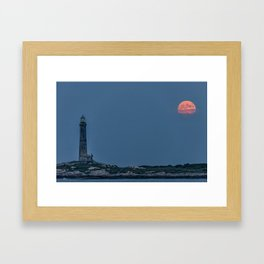 Full Buck Moon at the north tower Framed Art Print