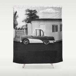The Cuban Kingpin - Vintage car in the streets of Cuba (black & white) Shower Curtain