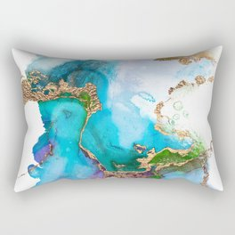 Abstract Marble Mermaid Gemstone With Gold Glitter Rectangular Pillow