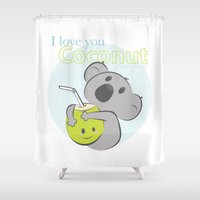 coconut wishes Shower Curtains featuring Dear Coconut by Mr. Peaches ®