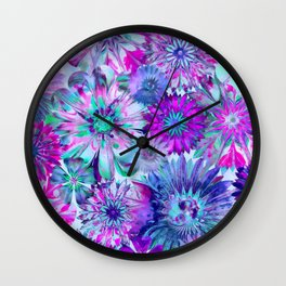 Rivalry of Flowers - blue & pink Wall Clock