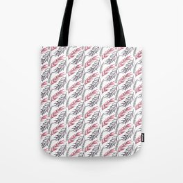 Abstract hand painted pink black tropical fern leaves Tote Bag