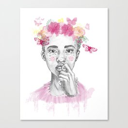 Girl and butterfly Canvas Print