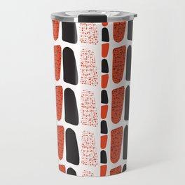 Terracotta and Black Abstract Drawn Symbols Style Travel Mug