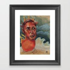 THE LAST RED BULL Framed Art Print