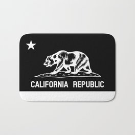 The Bear Flag - Black and White Bath Mat