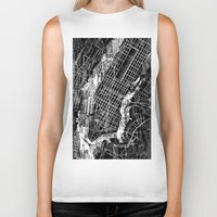 new york map Biker Tanks featuring New York map by Bekim ART
