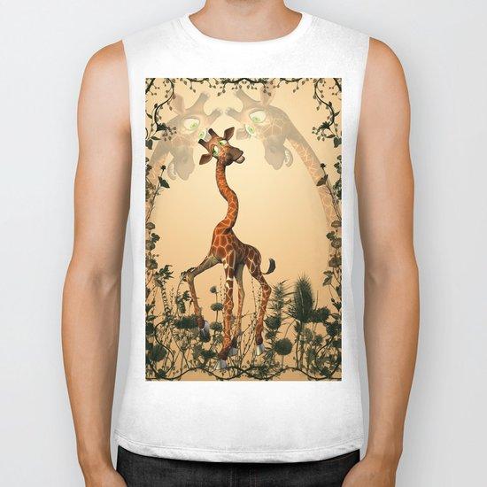 Funny giraffe  Biker Tank