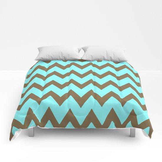 Mocha Mint Frappuccino Chevron Comforters