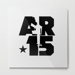 AR-15 (Silver/Black) Metal Print