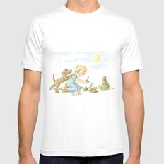 Beginning, Nature, Boy Planting A Seedling, Youth Illustration Mens Fitted Tee MEDIUM White