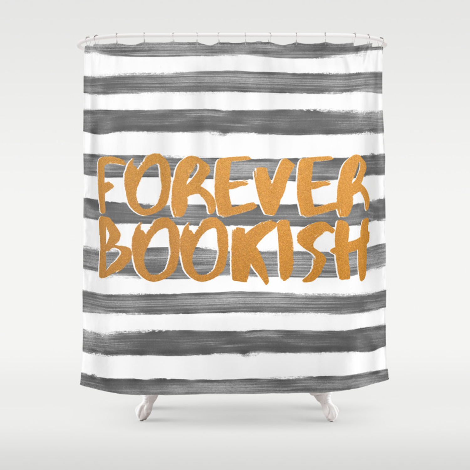Forever Bookish Grey Stripes Shower Curtain
