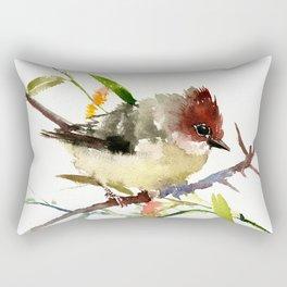 Beautiful Bird artwork, Yuhina Bird, Olive green Brown bird art Rectangular Pillow