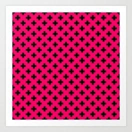 Black Crosses on Hot Neon Pink Art Print