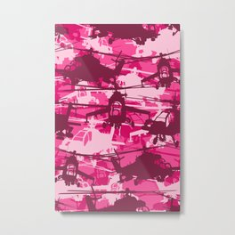 Military Camoflauge Neck Gator Pink Camo Helicopter Chopper Metal Print