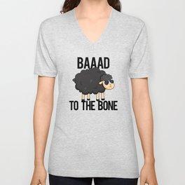 Baaad To The Bone Cute Sheep Pun Unisex V-Neck