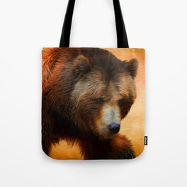 Grizzly Bear Painted Tote Bag