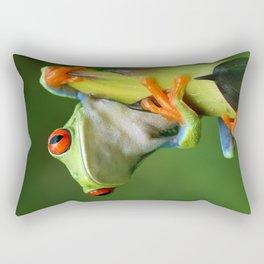 Curious Red-Eyed Tree Frog Rectangular Pillow
